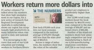 Workers return more dollars into local economy than state average