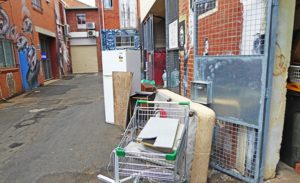 Eggins Lane dumped items behind Salvation Army Store